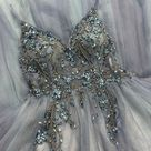 Steel Blue Prom Dress Embroidery Beaded M585