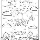 Ausmalbild Malen nach Zahlen: Kinder im Fesselballon kostenlos ausdrucken