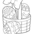 Ausmalbild  Korb mit bunten Ostereiern zum ausdrucken