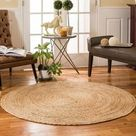 4' Braided Jute Natural Round Rug and Meditation Mat