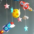 Space baby crib mobile, Nursery felt mobile, Monster cute mobile, Space aliens mobile, Cot mobile, Hanging mobile ,Colorful mobile