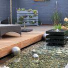 Rechteckiges Wasserbecken mit grauer Steinumrandung an Terrasse - Slink   Ideen mit Wasser