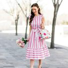KATE SPADE BNWOT pink striped poplin midi dress