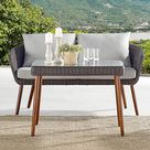 Alaterre Furniture Athens All-Weather Wicker Bench In Chocolate Brown With Cushions