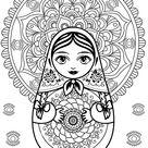 Mandala & Russian doll - Russian dolls Coloring Pages for Adults - Just Color