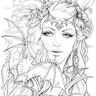 Mina / Coloring Page - Gothic Fantasy / printable pdf colouring page for adults by Sarah Richter