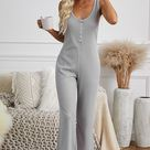 Pocketed Thermal Jumpsuit - Gray / XL