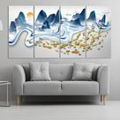 Goldfish print Gapanese wall art Mountain wall decal Blue ridge mountains line art wall print Modern abstract canvas painting