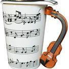 CYE 400ML lustige Kaffeetasse Teetasse mit Musiknoten Deckel und Geige Griff