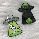 Cow Abduction  - Enamel Pin - Green