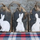 Easter Decor, Easter Rabbit Sign, Wood Tags, Easter Sign, Bunny Farmhouse Decor, Country Decor, Primitive, Country Decor Set