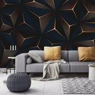 Custom 3D Photo Wallpaper Mural Modern Golden Lines Abstract Geometric Living Room TV Background Wal