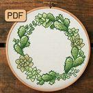 Cactus Wreath Cross Stitch Pattern Succulent Cross Stitch | Etsy