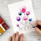 Easy Watercolor Flowers Step by Step Tutorial