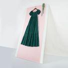 Off Shoulder Boho Lace Smocked Maxi Dress - Olive Green / S