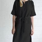 Casual cotton linen lace-up five-part sleeve dress - Black / 4XL