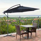 3m Garden Parasol Sun Shade Cantilever - Black