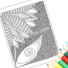 Zentangle Inspired Coloring Page Printable PDF Zendoodle   Etsy