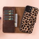 Leopard Furry Leather iPhone 13 Series Magnetic Detachable Wallet Case w/ Card Slots, iPhone 13 Mini / iPhone 13 & Pro / Pro Max Phone Case