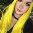 Glowstix Bright Yellow Long Straight Synthetic Lace Front Wig