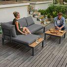 FLORABEST Lounge Set, 3 teilig, mit Sofaecke, Tisch, Auflagen, Kissen, mit Eukalyptusholz Gartenmobel