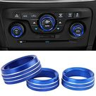 Air Conditioner Switch CD Button Knob Cover Auto Interior Accessories Aluminum Alloy Decal Trim Rings for 2015-2019 Dodge Challenger Charger Chrysler 300 300s 2013-2018 Dodge Ram - Blue