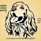English Cocker spaniel svg dog cut file cuttable clipart vector graphic art cocker spaniel portrait head digital design cricut