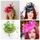 Green Fascinator with veil on headband, Women's Tea Party Hat, Church Hat, Derby Hat, Fancy Hat, Green Hat, wedding hat, British Hat - Blue
