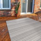 Modern Area Rugs for Indoor Outdoor Stripes Grey / White - 6x9