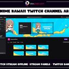 Cute Anime Kawaii Toons Twitch Offline Screen |  Stream Info Panels | Twitch Panels Anime Style | Twitch Banner Cover |  Stream Offline
