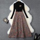 2 Piece Set  Black Sweater and Long Tweed Woolen Skirt Suit Twinset - Black / XL