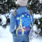 Van Gogh Paris France Starry Night  customized painted denim   Etsy