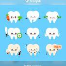 Cute Human Tooth Set. Healthy And Unhealthy Human Organ