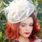 The Brynlee Ivory Fascinator, Women's Tea Party Hat, Hat with Veil, Church Hat, Derby Hat, Fancy Hat, Ivory Hat, Tea Party Hat, wedding hat - Hot pink/black