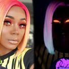 GLOW in the DARK Hair n' Makeup   Pink, Orange & Neon Yellow on WOC   Blunt Bob   SuperNova Hair