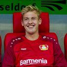 Julian Brandt of Bayer 04 Leverkusen looks on prior the Bundesliga...
