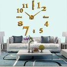 FASHION in THE CITY New 3D DIY Mirror Surface Wall Clocks Modern Design Living Room Decorative Wall Watches - Gold
