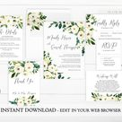 White Floral Wedding Invitation Template Bundle, Printable Floral Wedding Bundle, Instant Download, Spring Wedding Stationary Bundle Package