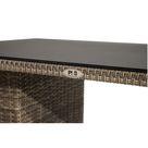 Ploß Rabida Lounge-Tisch champagner-meliert Polyrattan Rattanmöbel 140x85cm Glasplatte in Steinoptik