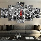 Michael Jordan Professional Basketball Celebrity Athlete Framed 5 Piece Sports Canvas Wall Art Painting Wallpaper Poster Picture Print Photo Decor - Medium / With Framed