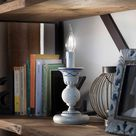 Ferroluce Sanremo Tischlampe weiß/braun, Handgefertigt in Italien, Keramik Tischleuchte E14