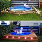 Man maakt met een opblaasbadje en wat hout een leip zwembadplatform   MAN MAN