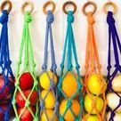 Macrame hanging basket /Fruit basket / Kitchen wall storage   Etsy