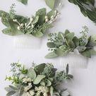 Eucalyptus hair comb greenery succulent Bridal hair vine boho white flower comb  bridal hair piece w