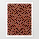 Leopard Print Rust Animal Print Brushstroke Polka Dots Dalmatian Cheetah Spots Boho Decor Minimal Art Print by Daily Regina Designs