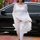 Anushka Shetty in white salwar kameez