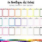 50 Rainbow Lined Clipboard Clip art Digital illustrations PNG | Etsy