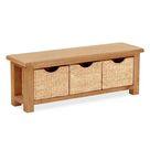 Zelah Oak Bench with Baskets