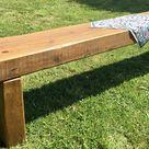 Winter Sale 7ft 8ft Huge Rustic Chunky Reclaimed Pine Railway Sleeper Garden Bench
