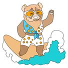 Coloring Page - A Panda is Catching a Wave